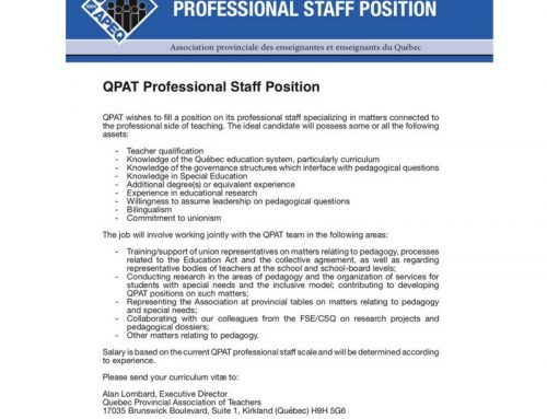 QPAT Professional Staff Position