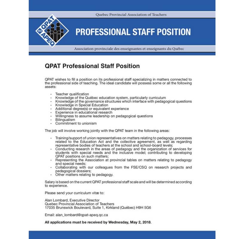 QPAT Professional Staff Position