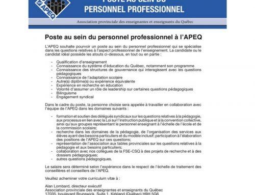 Poste au sein du personnel professionnel à l'APEQ