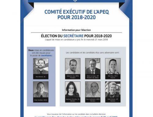 COMITÉ EXÉCUTIF DE L'APEQ POUR 2018-2020