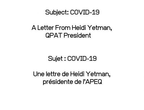 Sujet : COVID 19
